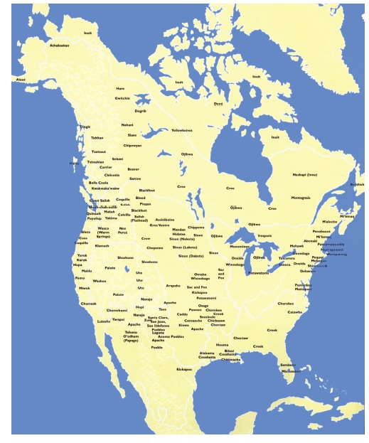Map of the  First Peoples of North America.