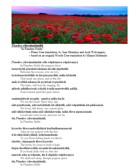 In Flanders Fields - Cree Translation