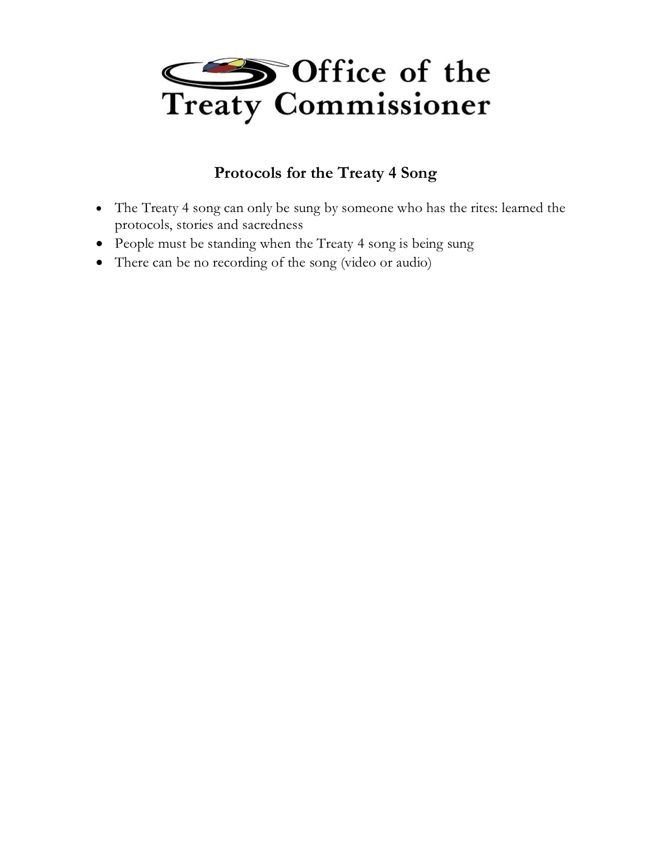 Protocols for the Treaty 4 Song
